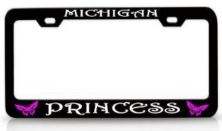 MICHIGAN PRINCESS Butterfly Princess Steel Metal License Plate Frame Bl # 66 Automotive