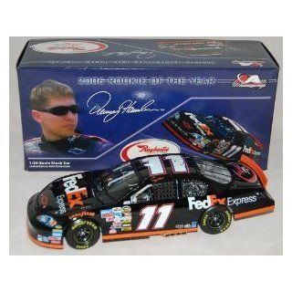 Denny Hamlin #11 *2006 Rookie Of The Year* FedEx Express Monte Carlo SS 124 Scale Die Cast Car With Yellow Rookie Stripes on Bumper Hood Opens Trunk Opens HOTO Motorsports Authentics (AKA Action Racing Collectables) Rookie of Year Logo on Trunk Lid Toys