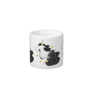 Los unicornios negros del dibujo animado del color tazitas espresso de