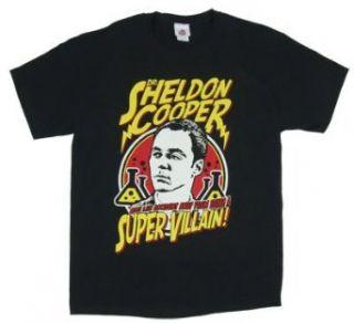 Dr. Sheldon Cooper Super Villain   Big Bang Theory T shirt Adult Small   Black Fashion T Shirts Clothing