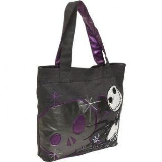 Loungefly Disney Jack Skellington The Nightmare Before Christmas Tote Handbag,Black/Grey/Purple,One Size: Clothing