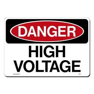 Lynch Sign 14 in. x 10 in. Black and Red on White Plastic Danger High Voltage Sign DS   3
