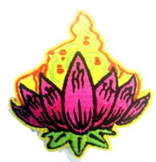 "2.5"" Reed Artist Pink Yellow Lotus Divine Flower Logo Iron on Patch: Clothing"