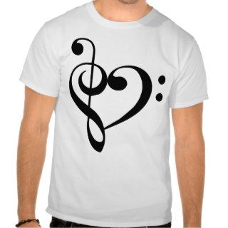 Treble and Bass Clefs Heart (black) T Shirt
