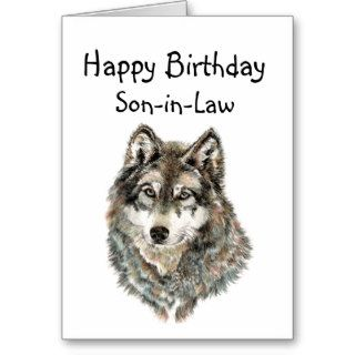 Happy Birthday Son in Law Humor Wolf, Wolves Card