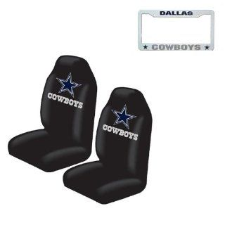 A set of 3 Piece Automotive Gift Set 2 Highback Seat Covers and 1 Plastic Tag License Plate Frame   Dallas Cowboys Automotive