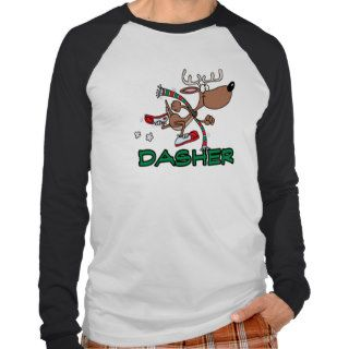 cute running reindeer DASHER cartoon Tee Shirts