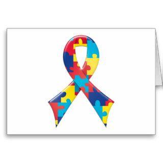 Autism Awareness Ribbon A4 Cards
