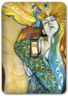Peacock Woman Metal Light Switch Plate Cover Bath Kitchen Home Decor 534