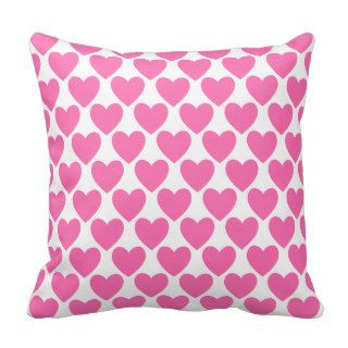 Simple Pretty Pink Polka Heart Wallpaper Pattern Pillow