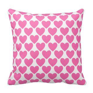 Simple Pretty Pink Polka Heart Wallpaper Pattern Pillow