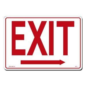 Lynch Sign 14 in. x 10 in. Red on White Plastic Exit with Arrow Right Sign ES   2
