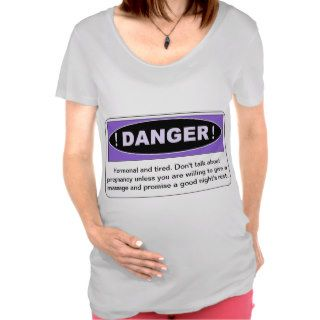 Funny Personalized Danger Sign in Purple Maternity T shirts