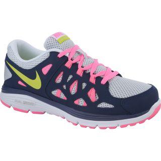 NIKE Girls Dual Fusion Run 2 GS Running Shoes   Size 4, Platinum/navy