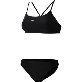NIKE Womens Core Solid Sport Top 2 Piece Swimsuit   Size 6, Black