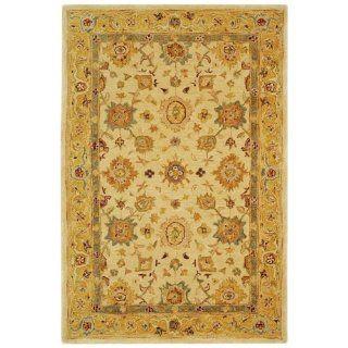 Safavieh AN546B Anatolia Collection 4 Feet by 6 Feet Handmade Hand Spun Wool Area Rug, Ivory and Gold
