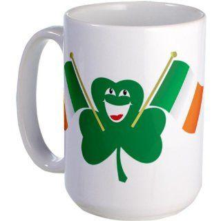 Shamrock Waving Irish Flags Large Mug Large Mug   Standard Kitchen & Dining