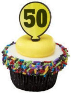Twelve 50 Year Old Birthday Cupcake Picks Cake Toppers Decorative Cake Toppers Kitchen & Dining