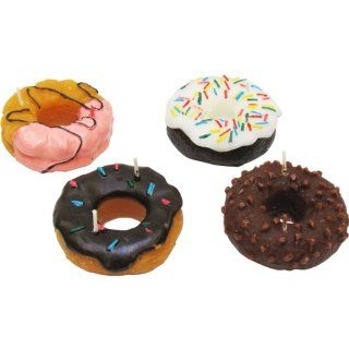 """4 pack Scented Donut Candles (3""""x3""""x1"""") and a """"Chocolate Ice Cream"""" Themed Sticker Sheet   They Smell so Real   Great As Wedding Favors, Birthday Party Favors, or Bachelorette Party Favors   Individually Gift Packaged Donuts Candl"""