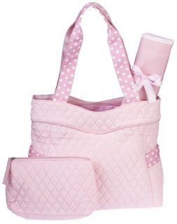 Quilted Pink Diaper Baby Bag with White Dots with Change Pad and Makeup Case : Diaper Tote Bags : Baby