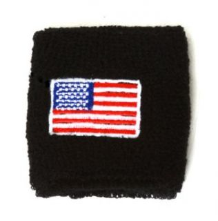 United States Flag Embroidered Wrist Sweatbands 2 Pack   Black Sports Wristbands Clothing