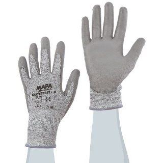"""MAPA Krytech 557 Polyurethane Heavy Duty Palm Coated Glove, Cut Resistant, 9 1/2"""" Length, Size 8, Gray (Pack of 12 Pairs) Cut Resistant Safety Gloves Industrial & Scientific"""