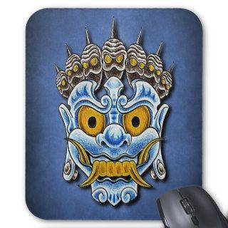 Maori Tribe Evil Skull Mask Tattoo Design Mousepads