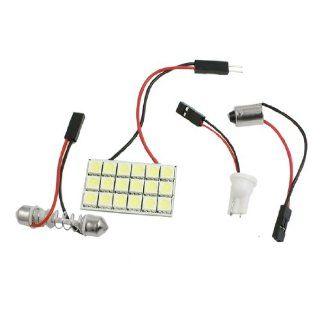 Vehicle White 18 LED Panel 5050 SMD Dome Light + T10 BA9S Festoon Adapter Automotive