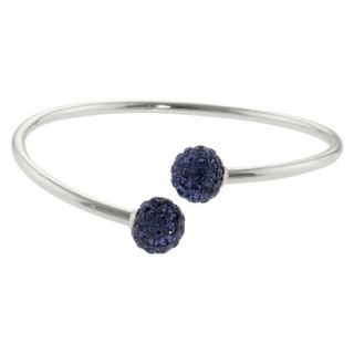 Womens Silver Plated Crystals bypass bangle   Purple/Silver