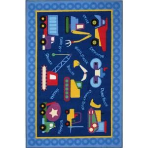 LA Rug Inc. Olive Kids Under Construction Multi Colored 39 in. x 58 in. Area Rug OLK 026 3958