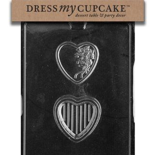 Dress My Cupcake DMCV113SET Chocolate Candy Mold, Heart with Bouquet P/B, Set of 6 Candy Making Molds Kitchen & Dining