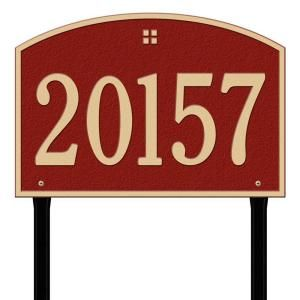 Whitehall Products Rectangular Red/Gold Cape Charles Estate Lawn One Line Address Plaque 1173RG