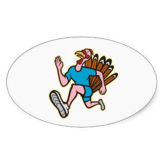 Turkey Run Runner Side Cartoon Isolated Oval Stickers