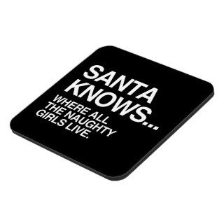 SANTA KNOWS WHERE ALL THE NAUGHTY GIRLS LIVE DRINK COASTERS