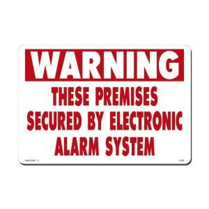 Lynch Sign 14 in. x 10 in. Red on White Plastic These Premises Secured by Electronic Alarm Sign R  80