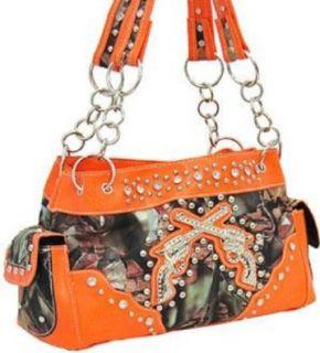 Orange Camo Fashion Double Pistol Purse Wtih Rhinestones: Shoes
