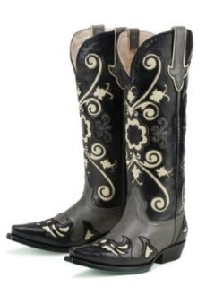 Lane Boots Margaret in Grey/Black Leather Fashion Cowgirl Boots: Shoes