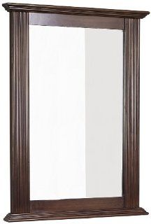 American Imaginations 26 24 Inch by 32 Inch Rectangle Wood Framed Mirror, Distressed Antique Walnut Finish   Shelving Hardware