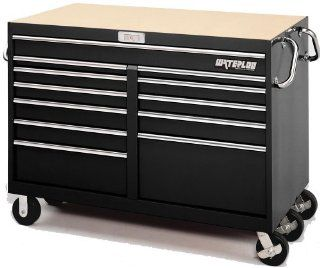 Waterloo MG5612BK 56 Inch Wide by 30 Inch Dep by 42 1/4 Inch High Extreme Use Black Tool Cart with 12 Ball Bearing Drawers and Roll Cage Construction   Toolboxes