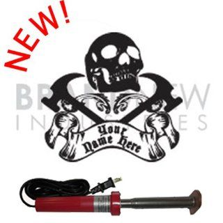 Branding Iron   Electric Unit BN 502U Personalized Skull and Cross Hammers Design   Soldering Irons