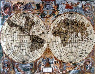 """66x88"""" World Map Marble Stone Art Tile Wall Mural  Decorative Tiles"""