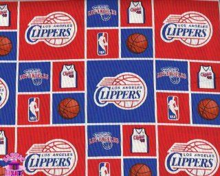 """44"""" NBA Los Angeles Clippers Checker Cotton Fabric By The Yard"""