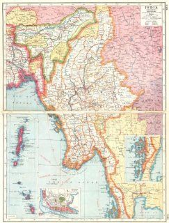 BURMA MYANMAR: inset Rangoon Mergui Andaman Nicobar Islands 1920 vintage map   Wall Maps