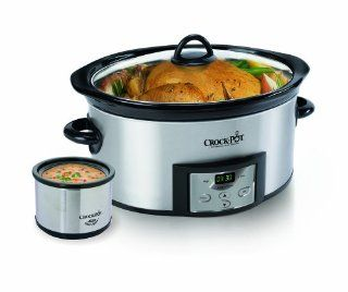 Crock Pot SCCPVC605 S 6 Quart Countdown Oval Slow Cooker with Dipper, Stainless Steel Kitchen & Dining