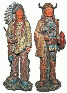 Native American Indian Carved and Aged Wood Statue 9.5 Inches 2 pc Set   Collectible Figurines