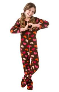 Big Feet Pjs Kids Chocolate Brown with Hearts 606: Clothing