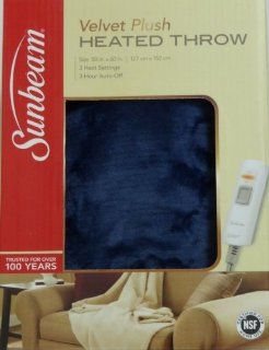 Sunbeam Plush Heated Throw Blanket Washable with 3 Heat Settings and Auto off   Blue   Electric Throw Blankets