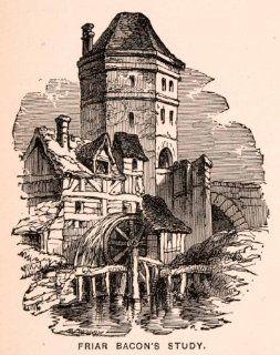 1900 Wood Engraving Friar Roger Bacon Study Mill Water Wheel Folly Bridge Art   Original Engraving   Prints