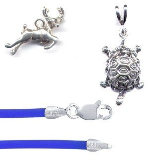 "Sterling Silver Forest Animals Jewelry Set 2 with 18"" Blue Cord"