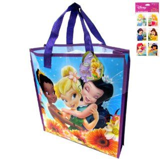 "Tinkerbell Fairies Tote Bag   Large (16""x14""x4"" Non woven) and a Rare 4 sheet Disney Princess Stickers Set (3""x6"")      Use These As Tinkerbell Gift Bags and Tinkerbell Party Favors   Stickers feature Ariel, Snow White, Belle, Jasm"